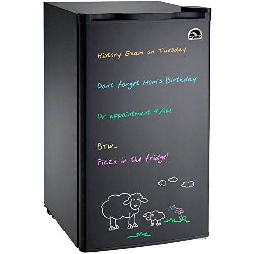 Igloo FR326M-D-BLACK Erase Board Refrigerator with Neon Markers, 3.2 cu. ft., Black