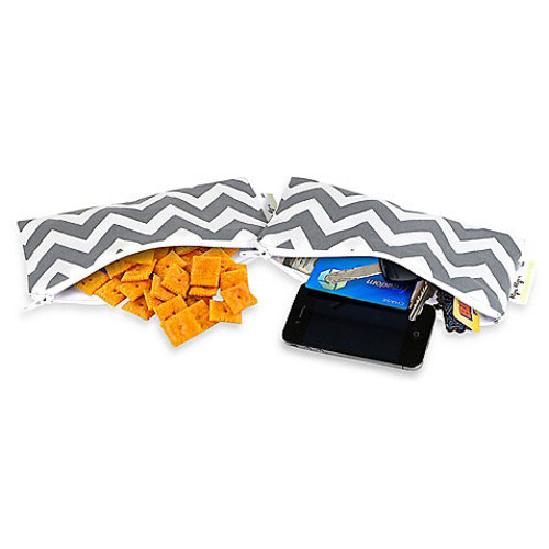Itzy Ritzy Snack Happened Small Reusable Snack and Everything Bag 2-Pack in Grey
