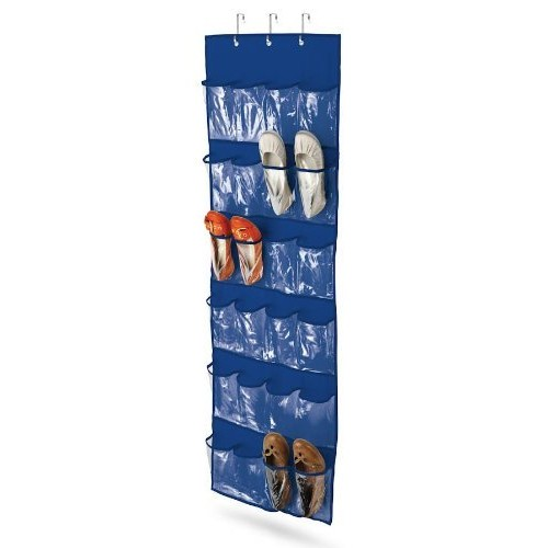 Honey-Can-Do SFT-01278 Over The Door Clear Shoe Organizer/Storage Rack, Navy [Blue]