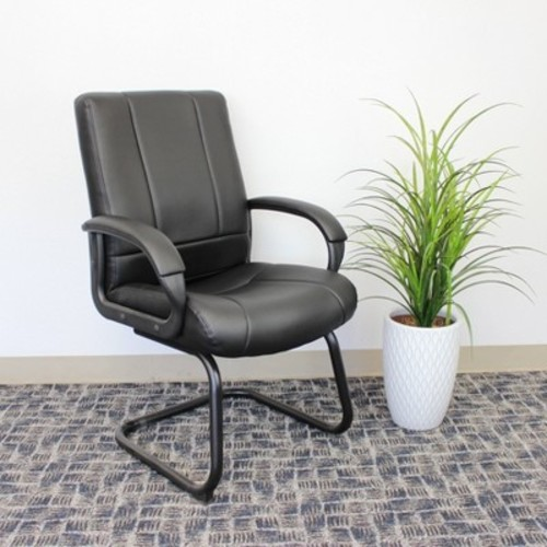 Caressoft Mid Back Guest Chair Black - Boss Office Products