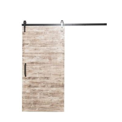Rustica Hardware 36 in. x 84 in. Rustica Reclaimed White Wash Wood Barn Door with Arrow Sliding Door Hardware Kit