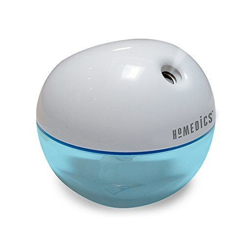 Homedics Personal Ultrasonic Humidifier   200 ML Reservoir, 4 Hour Runtime, Travel Size, Single Touch Operation, Whisper-Quiet   Includes AC & USB Adaptors, BONUS- 3 FREE WICK FILTERS