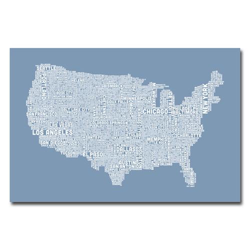 Trademark Global Michael Tompsett 'US City Map XII' Canvas Art