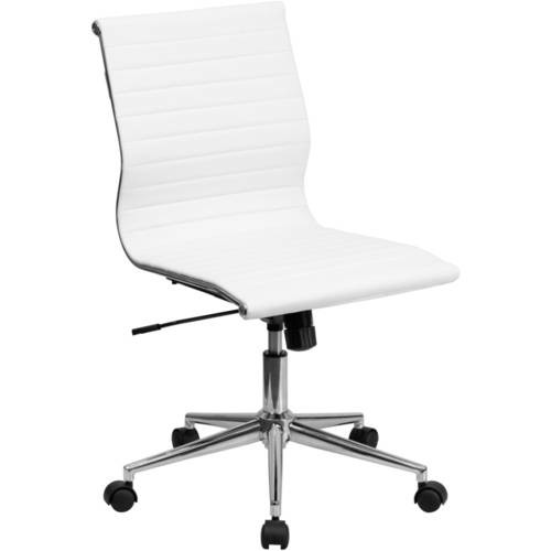 Flash Furniture Mid-Back Armless Ribbed Upholstered Leather Swivel Conference Chair, Multiple Colors