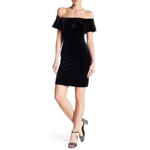 Off-the-Shoulder Ruffle Velvet Dress