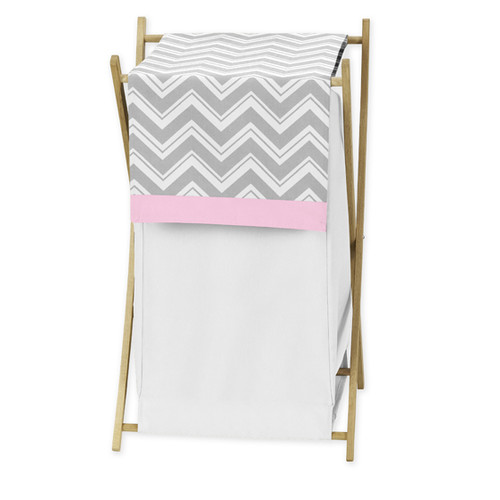 Sweet Jojo Designs Gray and Pink Zig Zag Collection Laundry Hamper