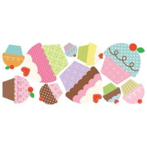 18 in. x 40 in. Happi Cupcake 10-Piece Peel and Stick Giant Wall Decals