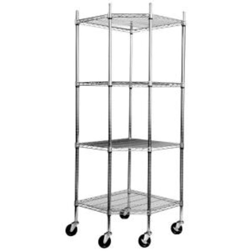 Trinity EcoStorage 4-Tier NSF Corner Wire Shelving Rack w/Wheels - Chrome