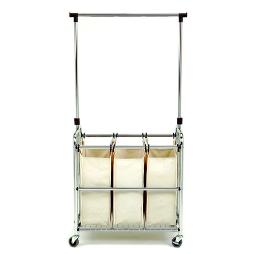 Seville Classics 3-bag Laundry Sorter with Hanging Bar