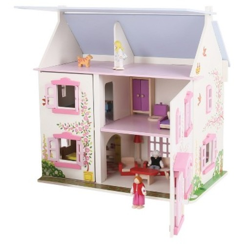 Bigjigs Toys Heritage Playset Rose Cottage - Wooden Doll House [Rose Cottage]