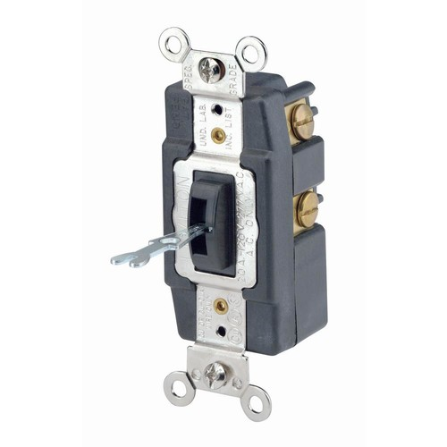 Leviton 20 Amp Industrial Grade Heavy Duty Single-Pole Double-Throw Center-Off Momentary Contact Locking Switch, Brown