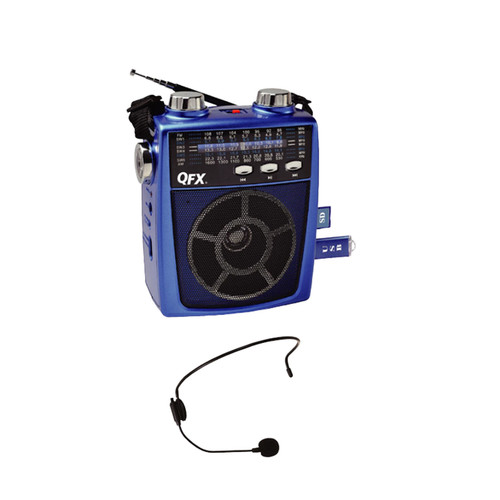 Quantum FX 97091894M QFX Portable Pa system USB/SD and AM/FM/SW1-6 Radio 8 Band Radio- Blue