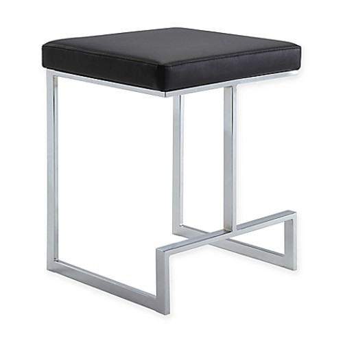 Carolina Cottage Kafka Counter Stool in Chrome/Black