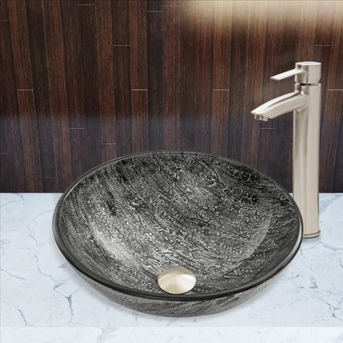 VIGO Glass Vessel Sink in Titanium and Shadow Faucet Set in Brushed Nickel