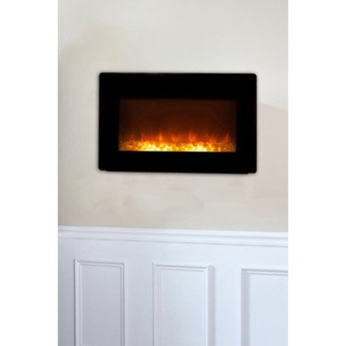 Well Traveled Living Black Wall Mounted Electric Fireplace