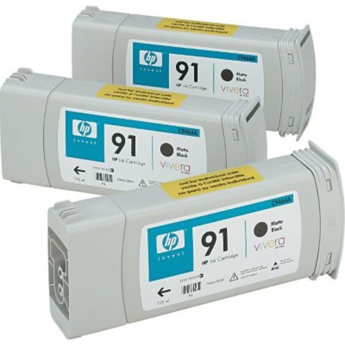 HP 91 Matte Black Ink Cartridges (C9480A), 775ml, 3/Pack