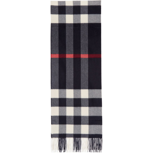BURBERRY Navy Oversized Mega Check Scarf
