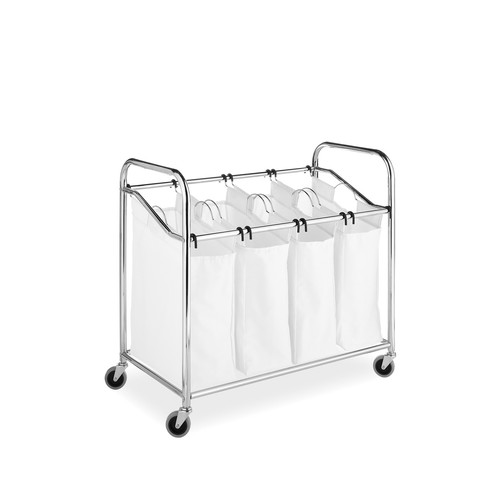 Chrome & Canvas 4-Section Laundry Sorter