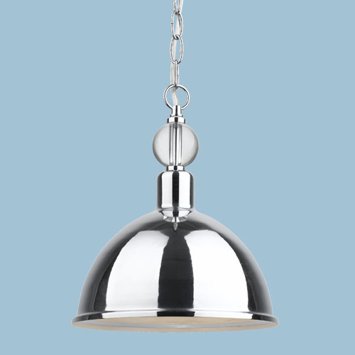 AF Lighting Hollace Collection 1-Light Chrome Pendant with Crystal Accents