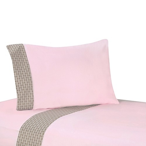 Sweet Jojo Designs Mod Elephant 4-Piece Queen Sheet Set in Pink/Taupe