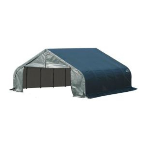 ShelterLogic 18 ft. x 20 ft. x 12 ft. Green Steel and Polyethylene Garage without Floor