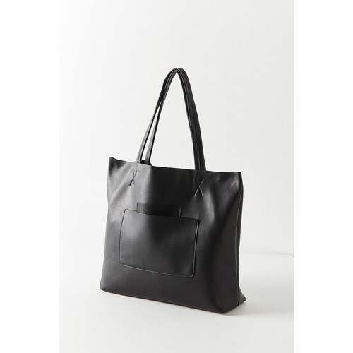 Double Pocket Faux Leather Tote Bag [REGULAR]