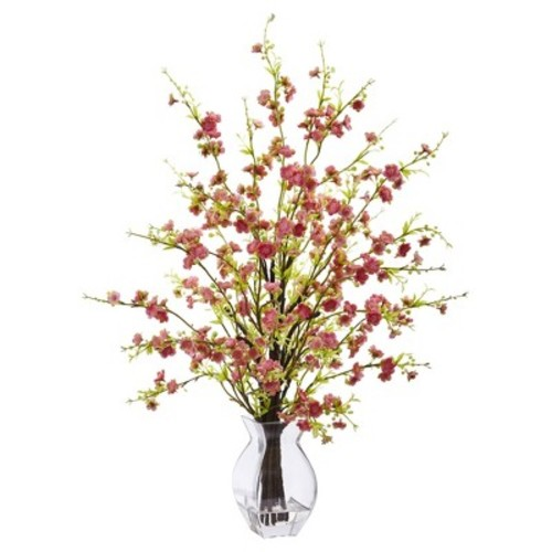 Cherry Blossom in Glass Vase Pink - Nearly Natural
