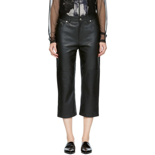 MCQ ALEXANDER MCQUEEN Black Cropped Leather Pants