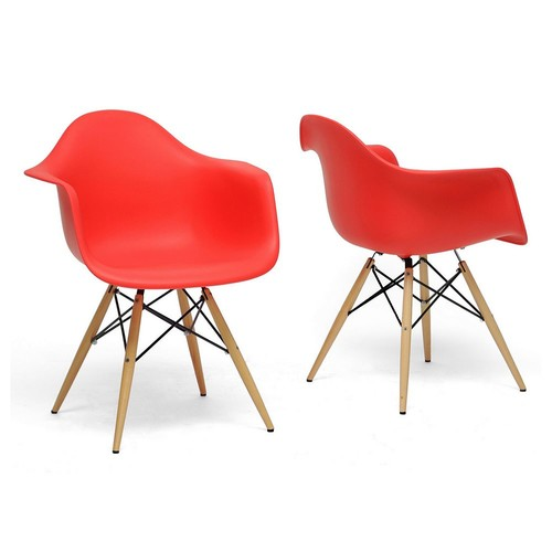 Pascal Red plastic Mid-Century Modern Shell Chair (Set of 2)