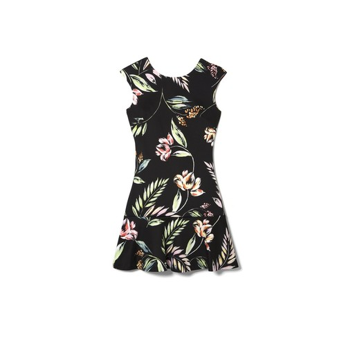 Vince Camuto Tropical-print Ruffle-hem Dress