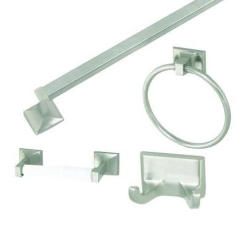 Design House Millbridge 4-Piece Bathroom Accessory Kit in Satin Nickel
