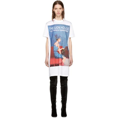 PRADA White 'The Lion House' Girl Poster T-Shirt