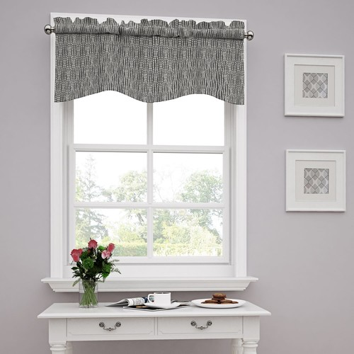 Traditions by Waverly 14977052016CHR Strands 52-Inch by 16-Inc Window Valance, Charcoal [Charcoal]