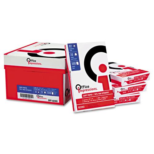 Office Impressions OFF82393 Bulk White Copy Paper, 92 Brightness, 20lb, 8-1/2 x 14, White, 5000 Shts/Ctn