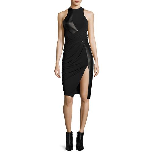 ALEXANDER WANG Leather & Jersey Sleeveless Draped Cocktail Dress, Black