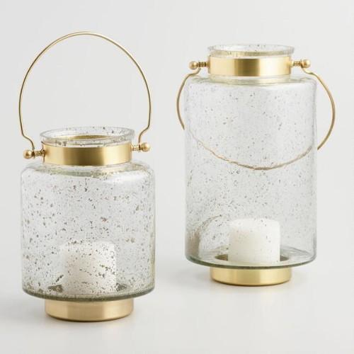 Bubble Glass and Brass Lantern