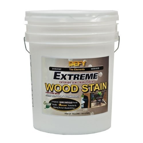 DEFY Extreme 5 Gallon Semi-Transparent Exterior Wood Stain, Light Walnut [Light Walnut, 5 gallon]