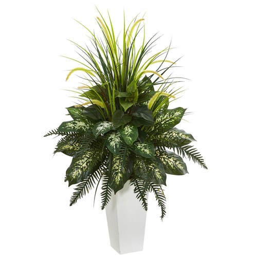 Nearly Natural Mixed River Fern and Dogtail Artificial Plant in White Tower Planter
