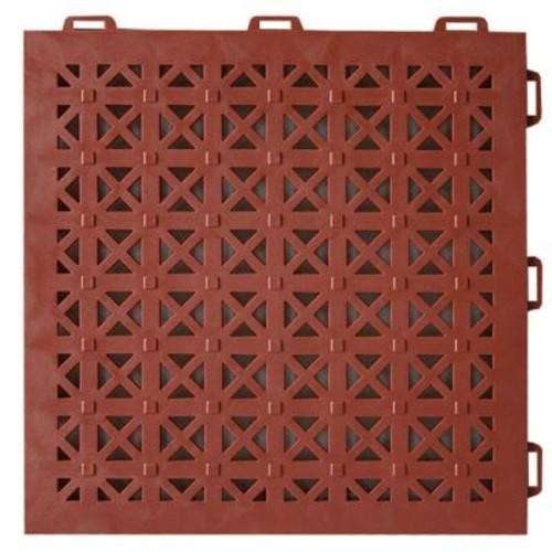 Greatmats StayLock Perforated Terra Cotta 12 in. x 12 in. x 0.56 in. PVC Plastic Interlocking Outdoor Floor Tile (Case of 26)