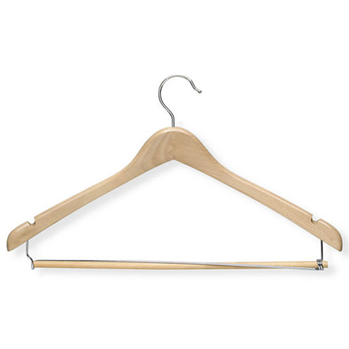 Honey-Can-Do HNGT01264 Contoured Suit Hanger with Locking Bar Maple, 6-Pack [Maple]