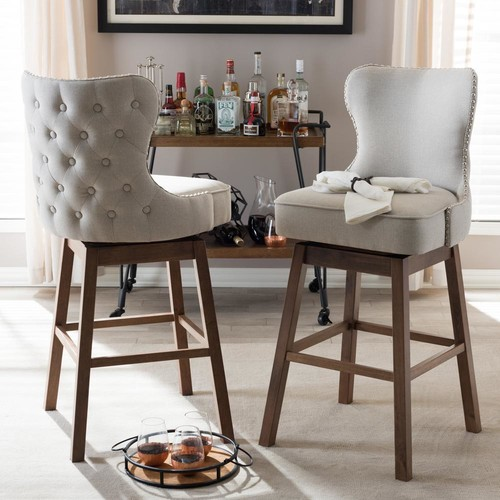 Baxton Studio Gradisca Gray Fabric Upholstered 2-Piece Bar Stool Set