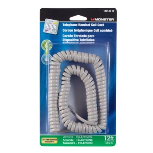 Monster 12Ft Almond Telephone Handset Coil Cord (140146-00)