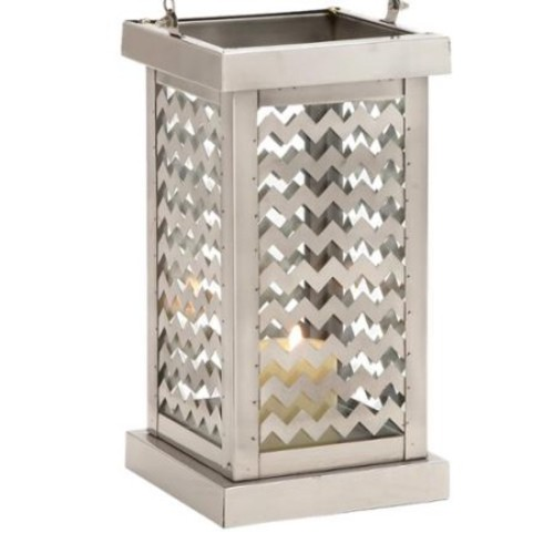 Casa Cortes Bay Collection Chevron Stainless Steel Candle Holder Lantern