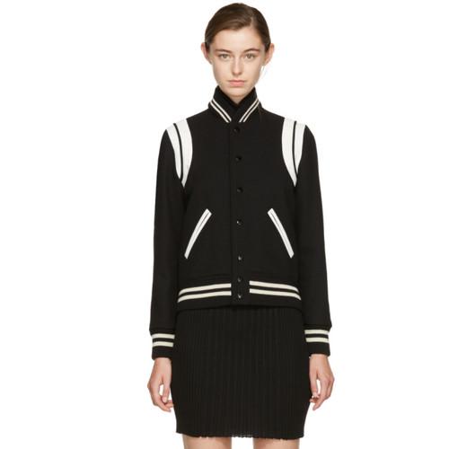 SAINT LAURENT Black Classic Wool Teddy Bomber Jacket