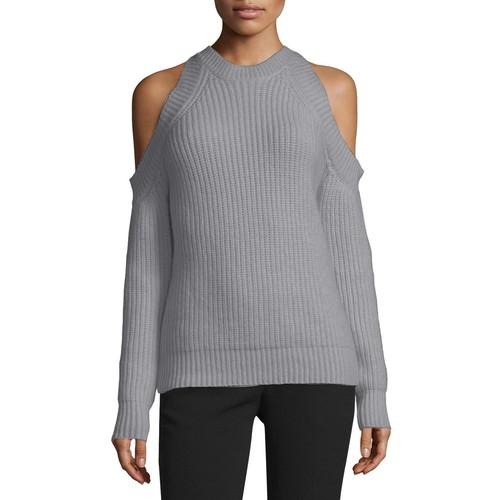 DEREK LAM Knit Cold-Shoulder Sweater, Dark Gray Melange