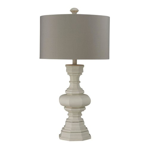 Titan Lighting 31 in. Parisian Plaster Table Lamp with Light Grey Shade