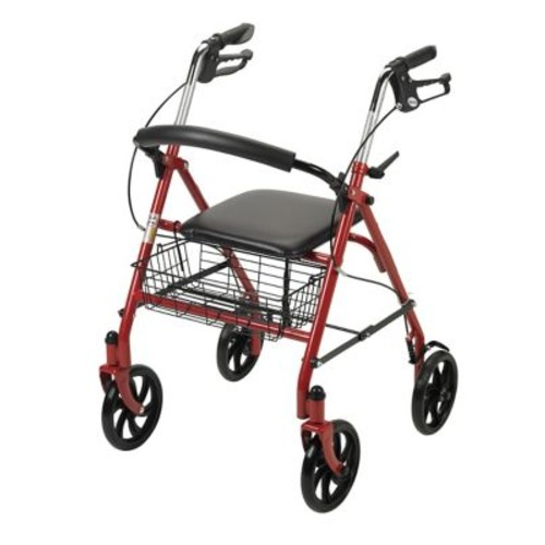Drive Medical Four Wheel Rollator Walker with Fold Up Removable Back Support