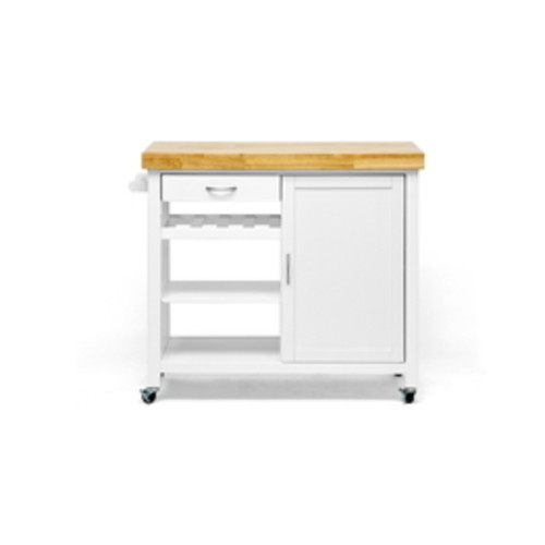 Baxton Studio Denver White Modern Kitchen Cart With Butcher Block Top RT185-OCC
