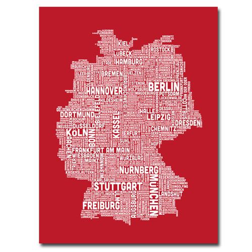 Trademark Global Michael Tompsett 'Germany City Map I' Canvas Art [Overall Dimensions : 18x24]