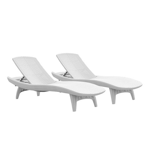 Keter Pacific Oasis White All-Weather Adjustable Resin Outdoor Chaise Lounge Chairs (2-Piece Set)